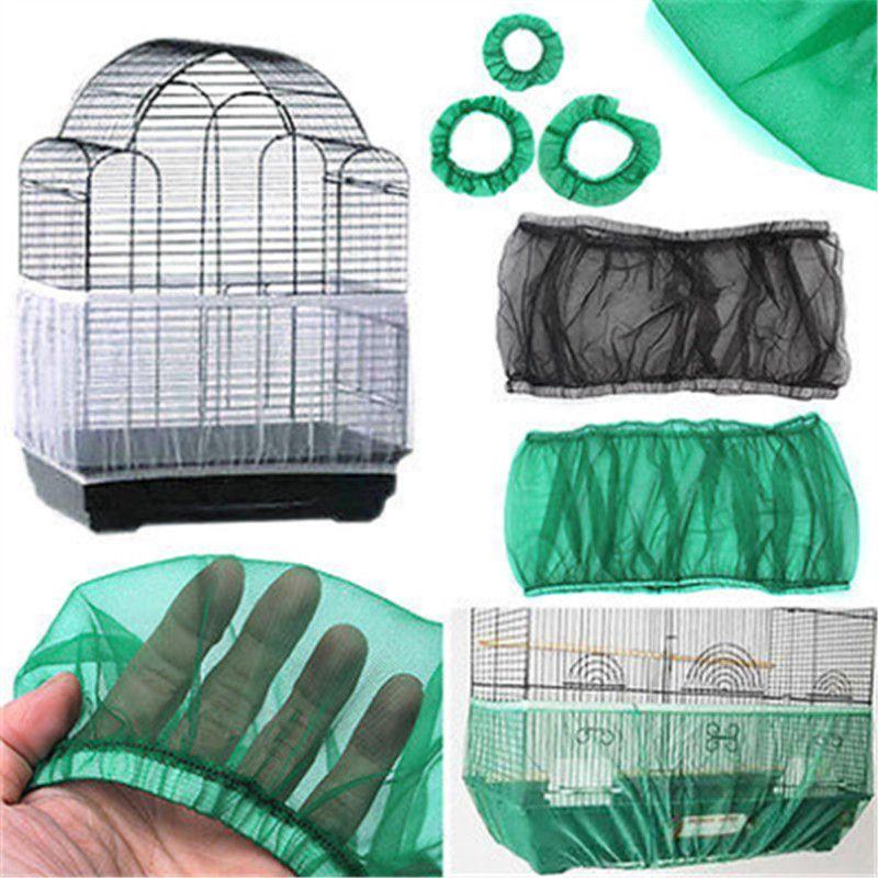 Covers Nova chegada colorido dos pássaros capa de nylon Mesh Pet Bird Cage Semente Catcher Guarda Capa Shell saia Decoração Gaiola de pássaro