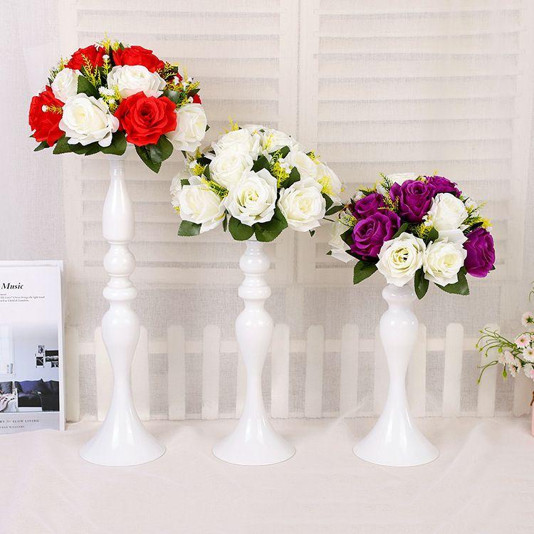 웨딩 화이트 장식 도로 메인 테이블 촛대 인 어 배치기 레이아웃 프로젝트 꽃병 홈 장식 꽃 병