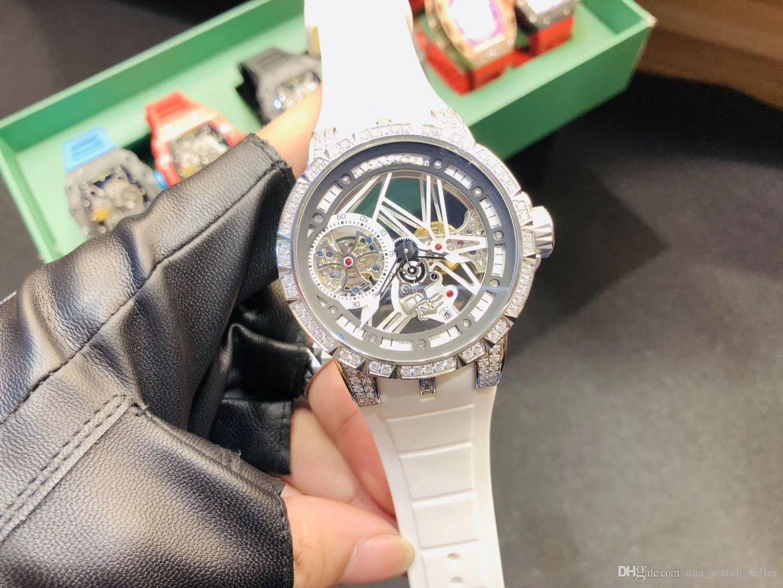 Дизайнерские часы EXCALIBUR RDDBEX0473 0393 ажурный скелет двойной турбийон Mechiancal движение часы роскошные мужские наручные часы