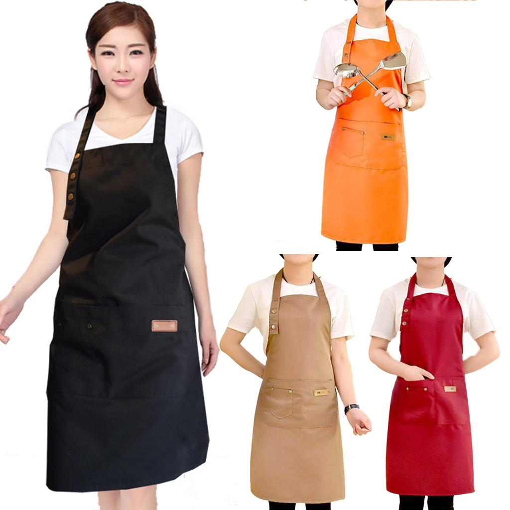 Pure Color Waterproof Aprons Cooking Kitchen Apron For Woman Men Chef Waiter Cafe Shop BBQ Hairdresser Aprons