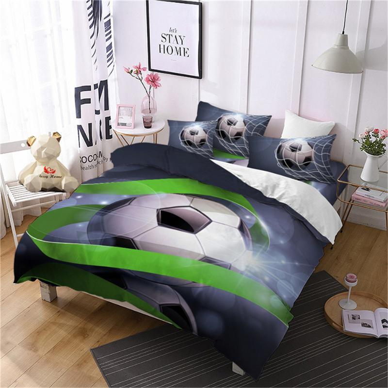 4Pcs 3D Football Bedding Set Blue Green Soccer Ball Printed Duvet Cover Set Boys Sports Design Bedding Flat Sheet Pillowcase D35