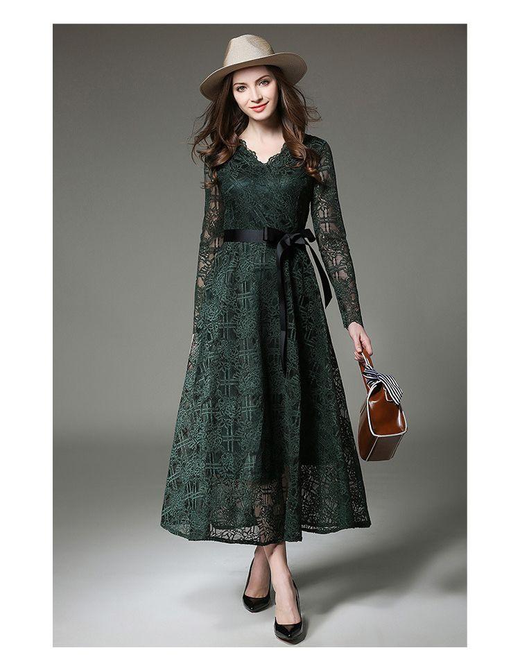 Дамы V-Образным Вырезом Зеленый Кружевном Платье Vetement Femme 2019 Весна Макси Элегантный Вечернее Платье Женщин Качели Боути Пояса Vestidos