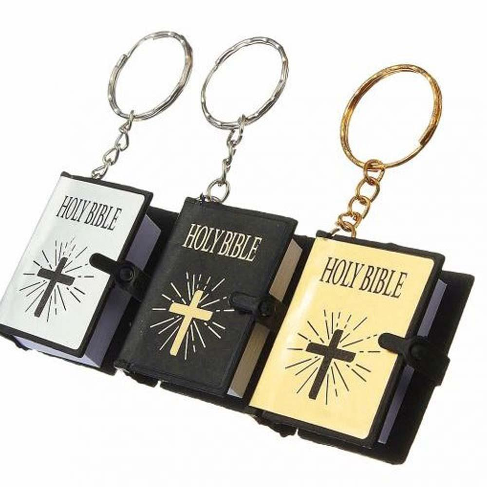 Biblical religious Ornament Gift cross Mini Holy Scripture pendant key buckle (available in English)