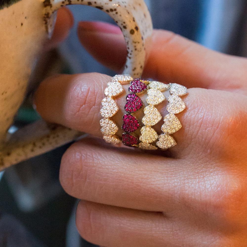 Amante dos namorados 2019 Presente Micro Pave Cz Coração de Prata de Ouro Multi Color Mulheres Dedo Tamanho do Anel 6 7 8 T190702