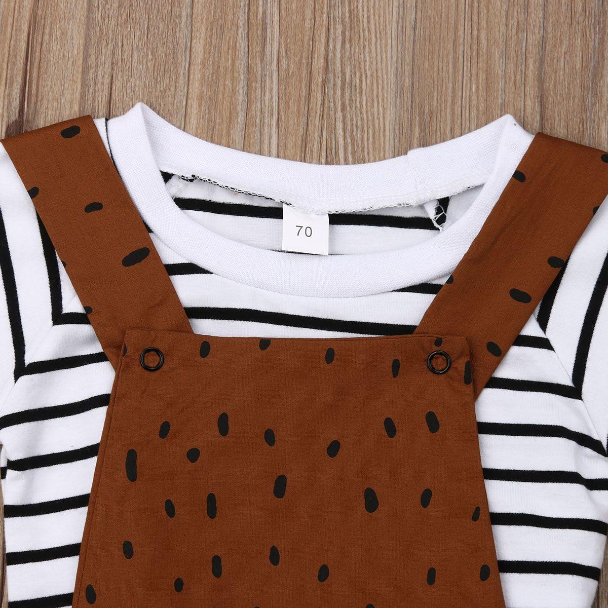 Yeni Yaz Çocuk Boy Kız Çizgili Tişört Ayı Önlüğü Pant tulumları Kıyafet Sunsuit