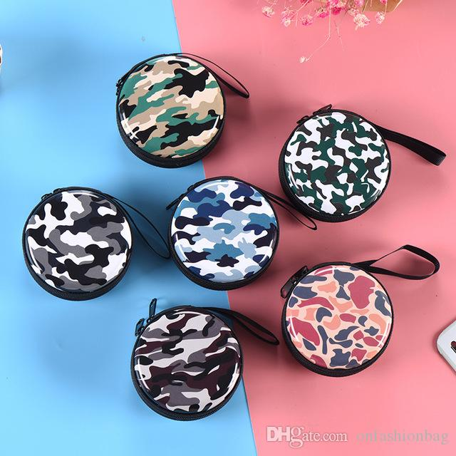 패션 남성과 여성 위장 지갑 창조적 인 개성 지퍼 헤드폰 스토리지 가방 야외 스포츠 방수 레저 동전 지갑