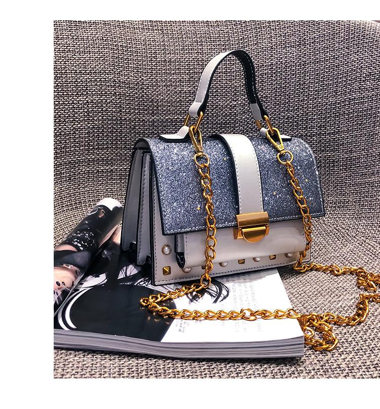 2020 New Bag Womens--Style Korean-Style Fashion Handbag Sequined Studded Chain Bag Shoulder Messenger Bag
