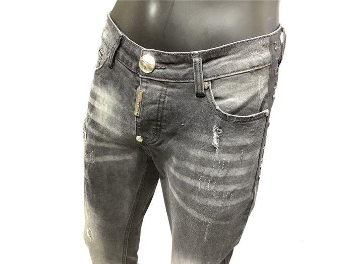 Новое прибытие мужские дизайнерские джинсы Промытые джинсы высокого качества вскользь Hip Hop Hole Джинсы Тощий Байкер Denim Брюки Брюки Размер 29-38