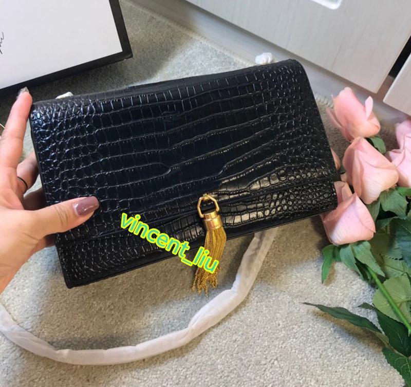 cocodrilo cuero real muy de moda las mujeres del diseñador versión de marca del bolso del bolso de hombro del embrague con la caja de la marca