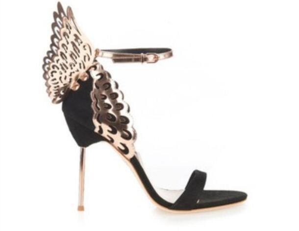 Mode Marke Lackleder Hochzeit Schuhe Frau Süße Stil Sandalen Schmetterlingsflügel Dünne High Heels Schuhe Frau