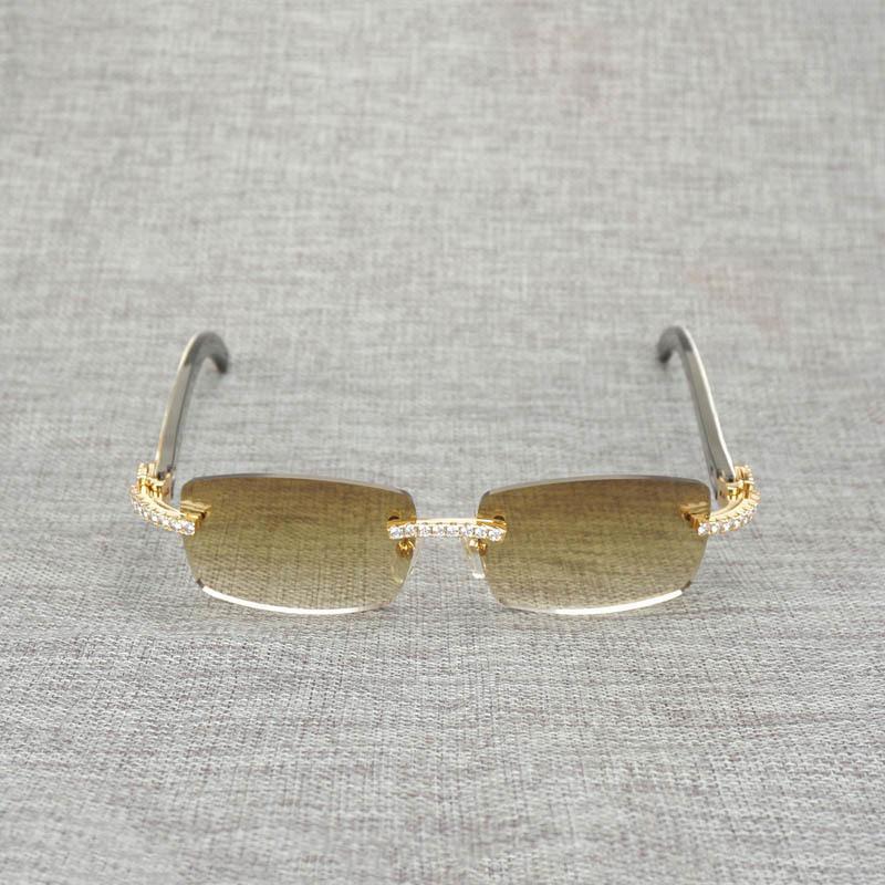 Rhinestone negro blanco búfalo cuerno sin llanta gafas de sol hombres de madera natural gafas de sol sombras retro ocultos gafas para club verano