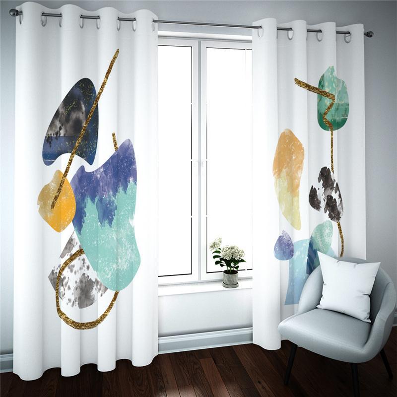 3D плотных штор Современной простоты Фото Печатного занавес Для Детской комнаты Гостиной Декор окна кухни Штора