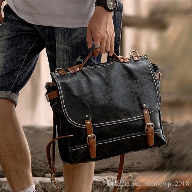 Fabrika toptan erkekler çanta retro erkekler çılgın at PU postacı çantası kontrast iş evrak çantası rahat deri bilgisayar çantası rahat messenger