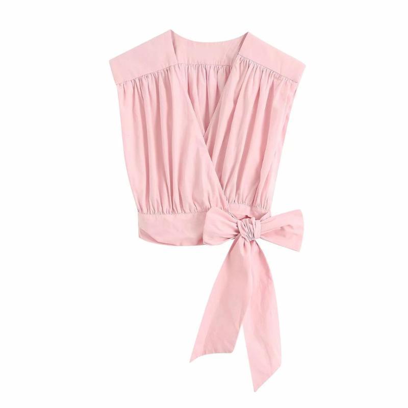 2020 Yaz Yeni Kadın Kırpma Pileli T-shirt V Yaka Puf Kolsuz Tee Gömlek Casual Moda Haut Femme Tops