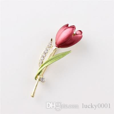 Domilay Flower Tulip elegante broche de pino do traje de cristal Broches Jóias roupas acessórios jóias para casamento