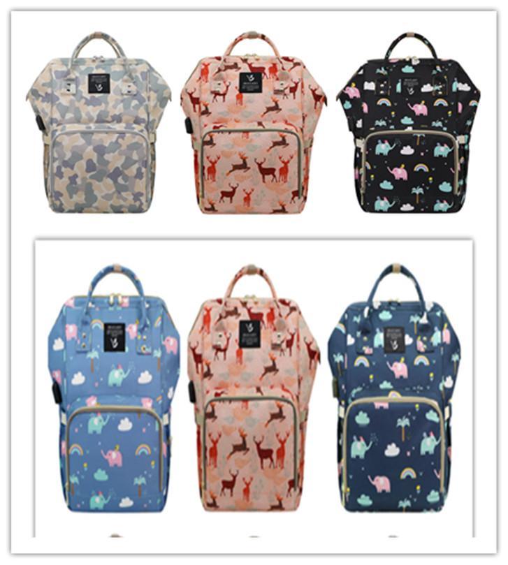 새로운 높은 용량의 USB 엄마 배낭 다기능 옥스포드 지퍼 여행 쇼핑 가방 마미 건식 습식 출발 병 운반 케이스 Mochila LY229