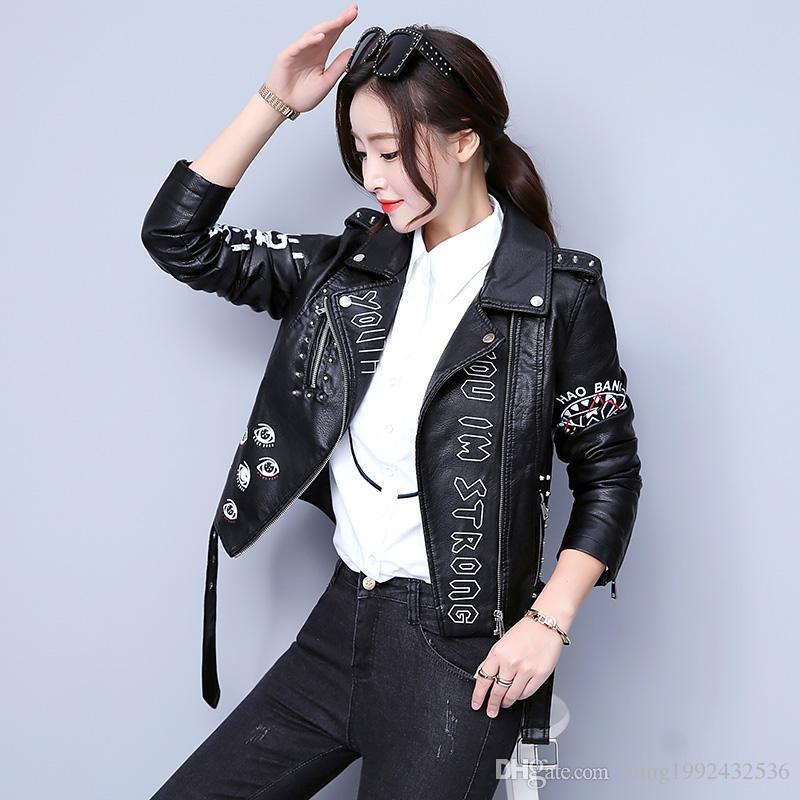 2019 chaqueta de cuero elegante pura de la moda de manga larga de cuero de la motocicleta de la primavera y del otoño de 2019 mujeres