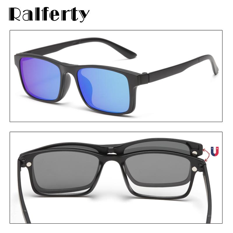 Ralferty Magnet Sunglasses Men Polarized Clip On Glasses Women Square Eyeglass TR90 UV400 3D Optic Frames 7 In 1 Oculos A2247 Y200619