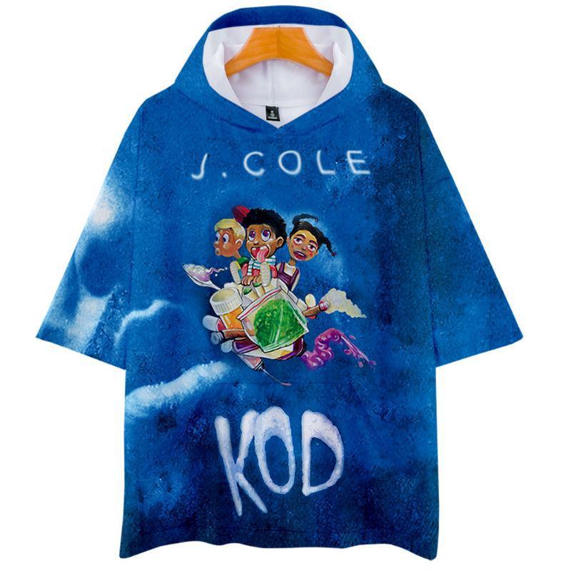 J Cole T-Shirt Top-King Cole Dreamville Männer / Frauen 3D kühler KOD mode street Hip-Hop kurz mit Kapuze T-Shirt Kleidung gedruckt