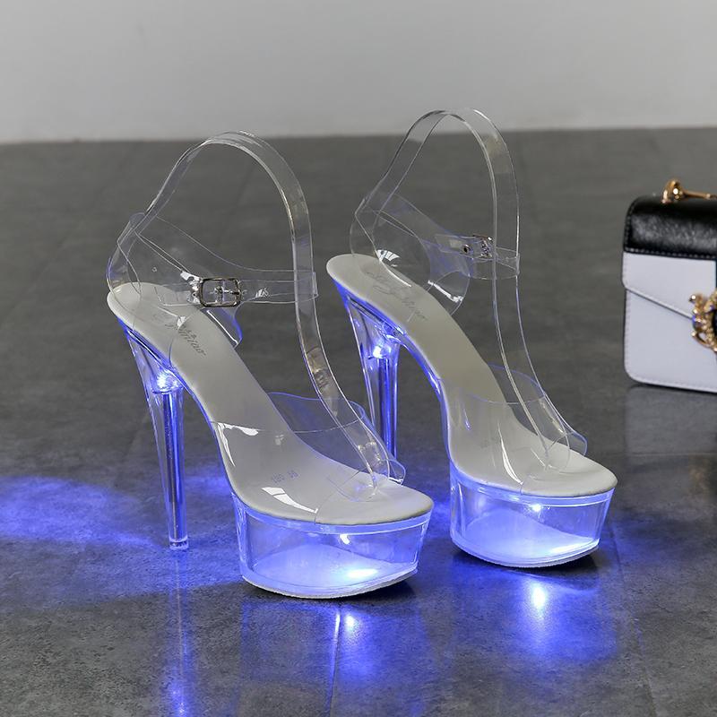 Zapatos enciende para arriba Mujer que brilla intensamente luminoso Claro sandalias de plataforma Zapatos de mujer Claro zapatos de tacón alto transparente boda Stripper T200111