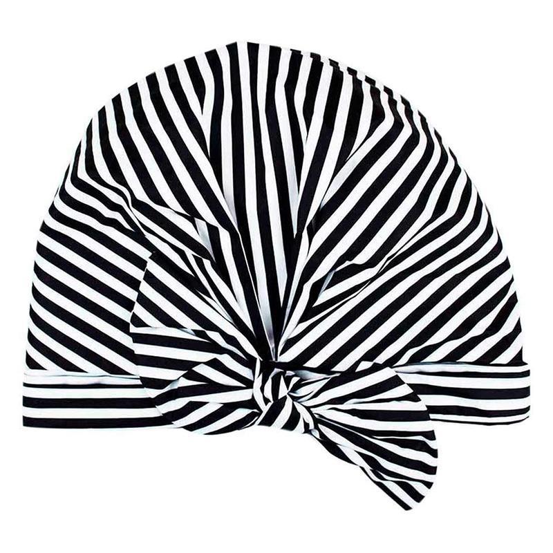 Lüks Duş Kadınlar için Cap - Su geçirmez ve Kalıp Dayanıklı, Yeniden kullanılabilir Duş Caps (Siyah ve Beyaz Çizgili)