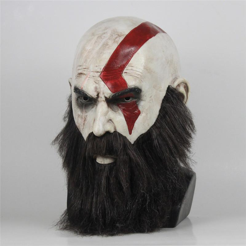 Game God Of War Mask Cosplay Kratos Latex Mask Halloween Scary Horror Masquerade Party Decorations Party Props DropShipping