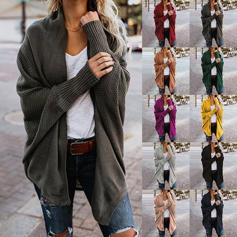 Casual Female Coarse Thick Knitting Cardigan Scarf Neck Irregular Tops Buttons Streetwear Women's Long Sleeve Sweater Many Color