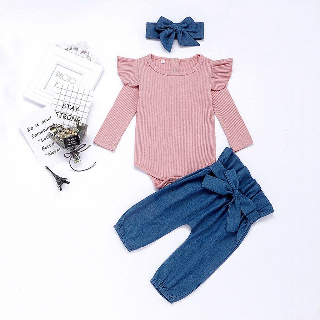 O-cuello sólido pantalones arco mameluco del bebé ropa de la muchacha recién nacidos niñas de manga larga vendas Trajes Set roupa Menino Recem Nascido