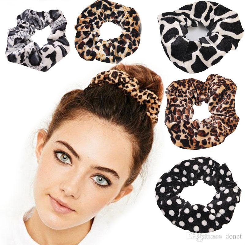 Classic Smooth Animal Velvet hair Scrunchies Leopard Print Houndstooth patterns autumn winter hairbands accessory