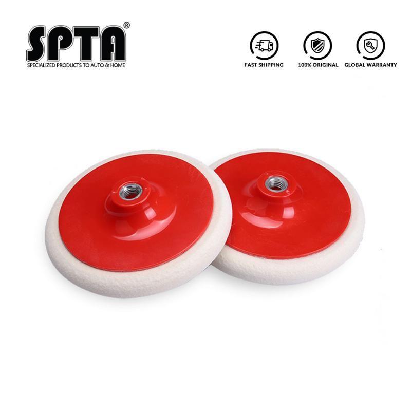 SPTA 4Inch / 5Inch / 6Inch Wool Felt Polishing Pads M14 Thread Felt Wheel Flocking Buffing Pad Car Paint Finish Polishing Disk