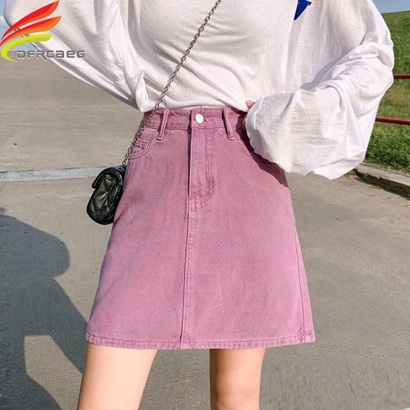 2020 Summer 2020 New High Waist Pink A Line Denim Skirt Women Korean Style Cute Jean Skirts For Ladies Pockets Saias Jeans Hot Sale From Layercuff 24 74 Dhgate Com
