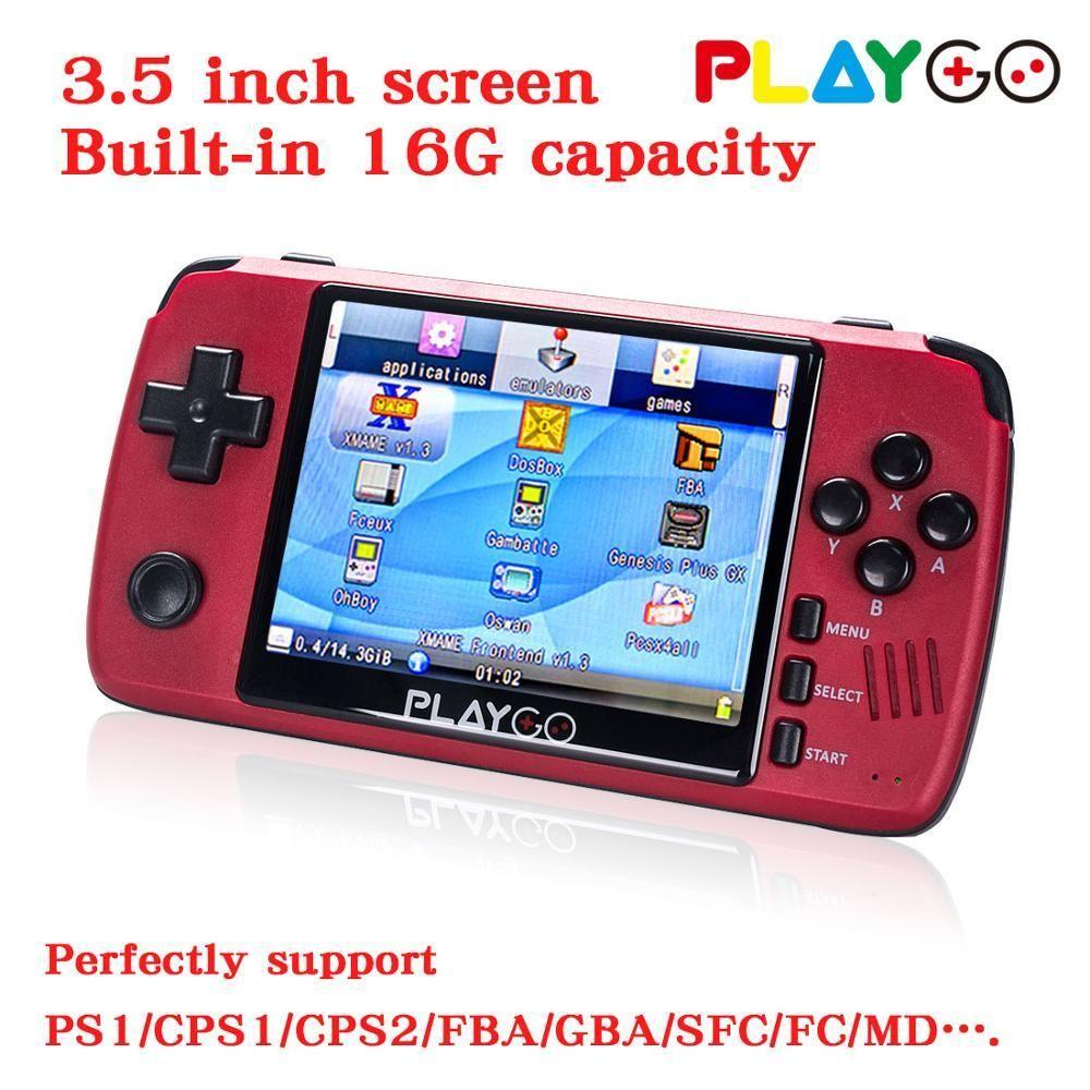 tela nova versão Red Playgo 3,5 polegadas consola de jogos portátil de mão com o cartão de 16GB SD construído em jogos emulador T200303 consola de bolso