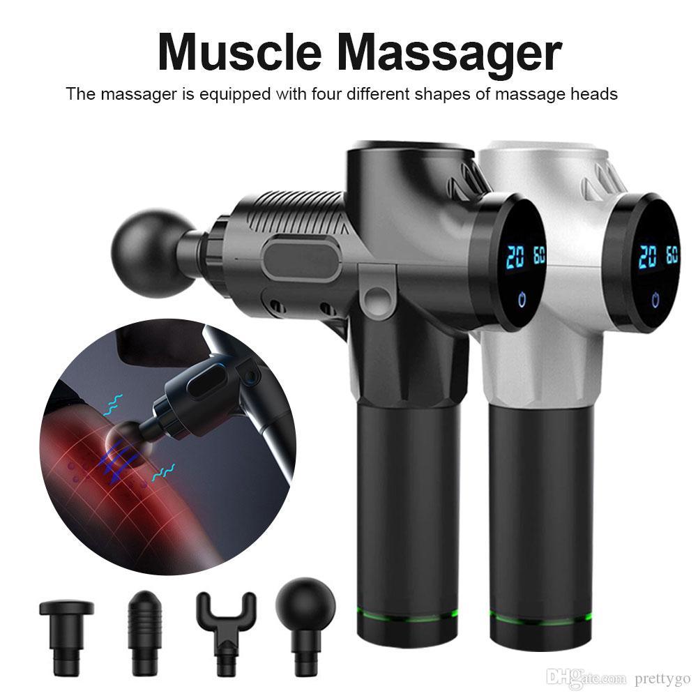 24v Fitness Gym Équipement fascia massage pistolet électrique profond Percussion Vibration Relaxation musculaire 1200-3300r / min Muscle Massager Sac Paquet