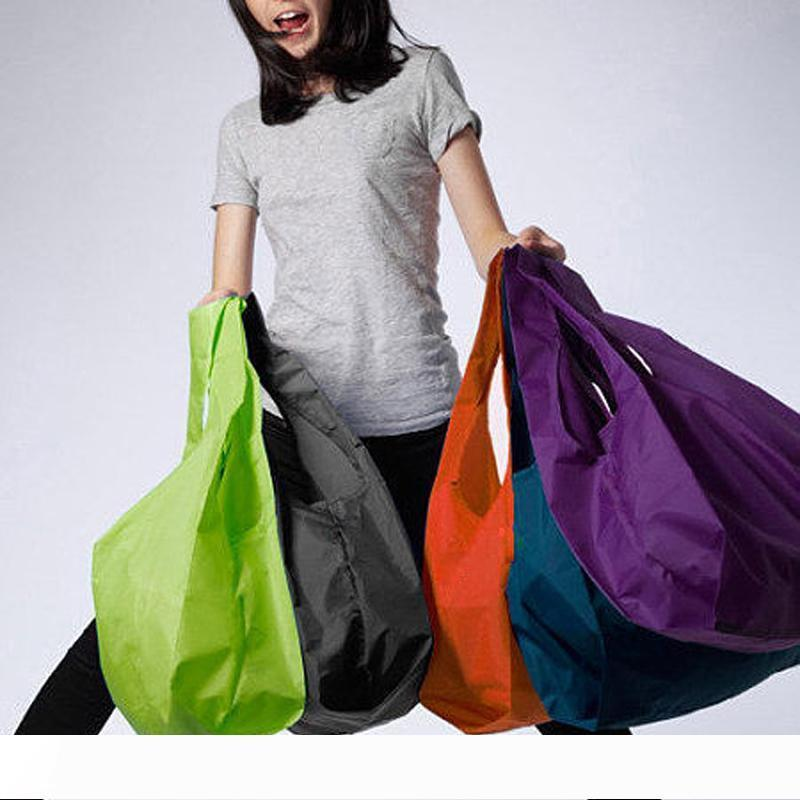 B 1 pieces Portable folding shopping bag Large nylon bags Thick bag Foldable Waterproof ripstop Shoulder Bag Handbag Free shipping