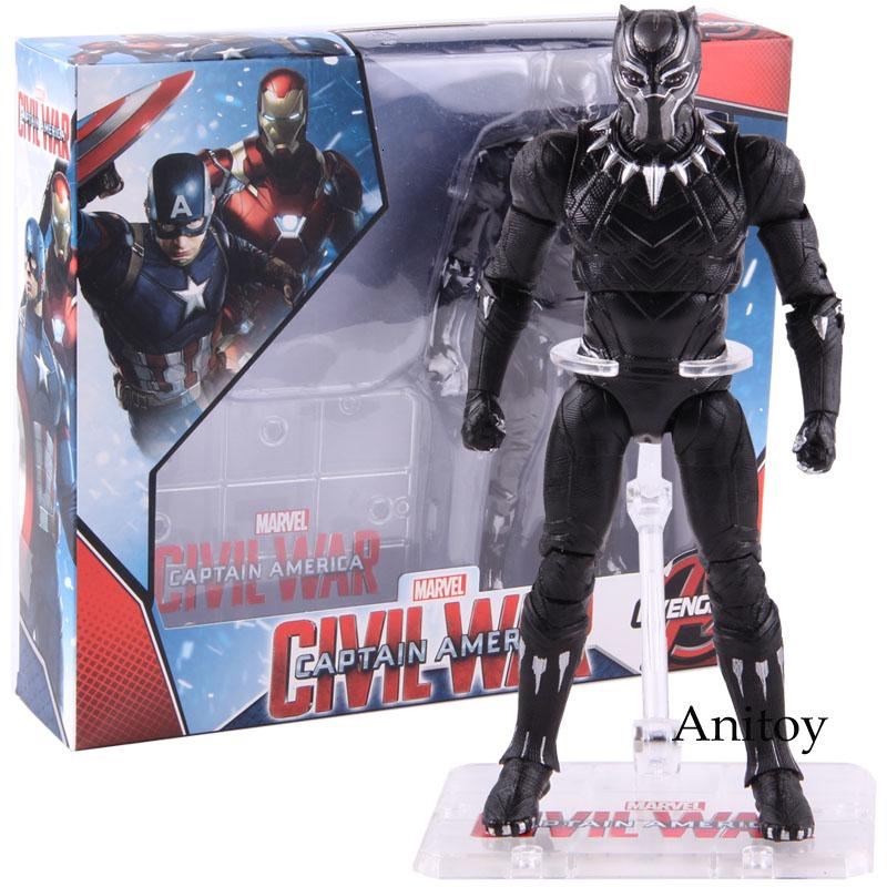 Super Heroes Marvel Schwarzer Panther Actionfigur PVC Hot Toys Schwarzer Panther Sammlerstück Modell Spielzeug 17cm SH190915