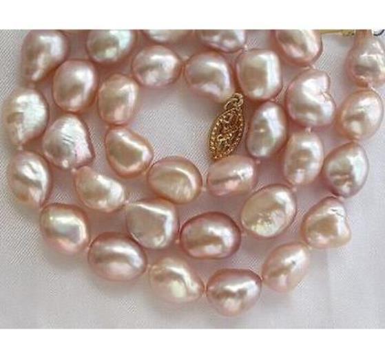 Классический 10-12 мм барокко южных морей розовое жемчужное ожерелье 18 дюймов 14 К золотые аксессуары