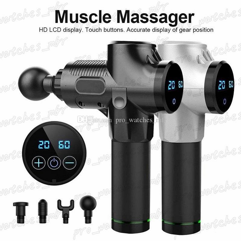 1200-3300 r / min Electric Muscle Massaging Therapy Fascia تدليك بندقية إهتزاز عميق العضلات الاسترخاء معدات اللياقة البدنية مع 6 رؤوس H011