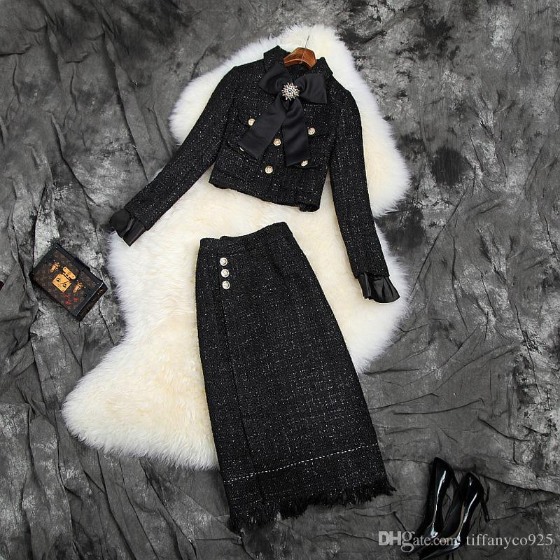 2020 осень осень с длинным рукавом отложным воротником Pure Color Tweed ленты лук куртка + Щитовые Mid-теленок юбка из двух частей 2 шт Набор O06T10214