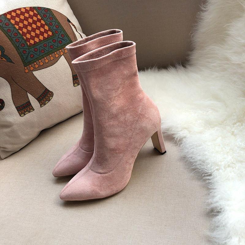 الأحذية النسائية في الكاحل الأحذية من جلد الغزال أحذية عالية الكعب الفاخرة الشتاء امرأة قطيع الأحذية الوردي نوعية جيدة الإناث مضخات سوداء