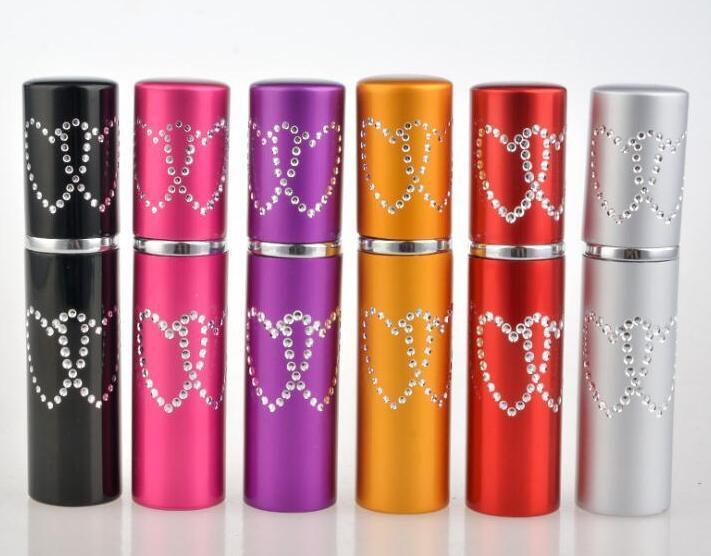 5ML 두 번 사랑 심장 여성 향수 병 분무기 2 심장 금속 알루미늄 유리 용기 리필 휴대용 선물 비우기