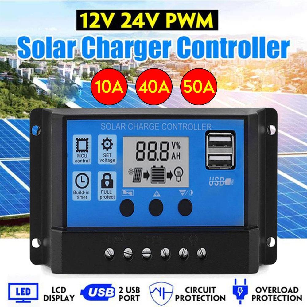 100A / 50A / 40A / 10A Авто Солнечный контроллер заряда LCD Dual USB 5V выход панели солнечных батарей PV Регулятор 12V / 24V