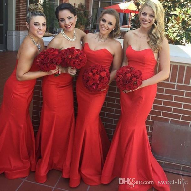 Elegante lunga rossa della sirena abiti da sposa abiti da Sweetheart Beach Party Wedding Vestido De Festa Longo damigella d'onore abiti abito da sera