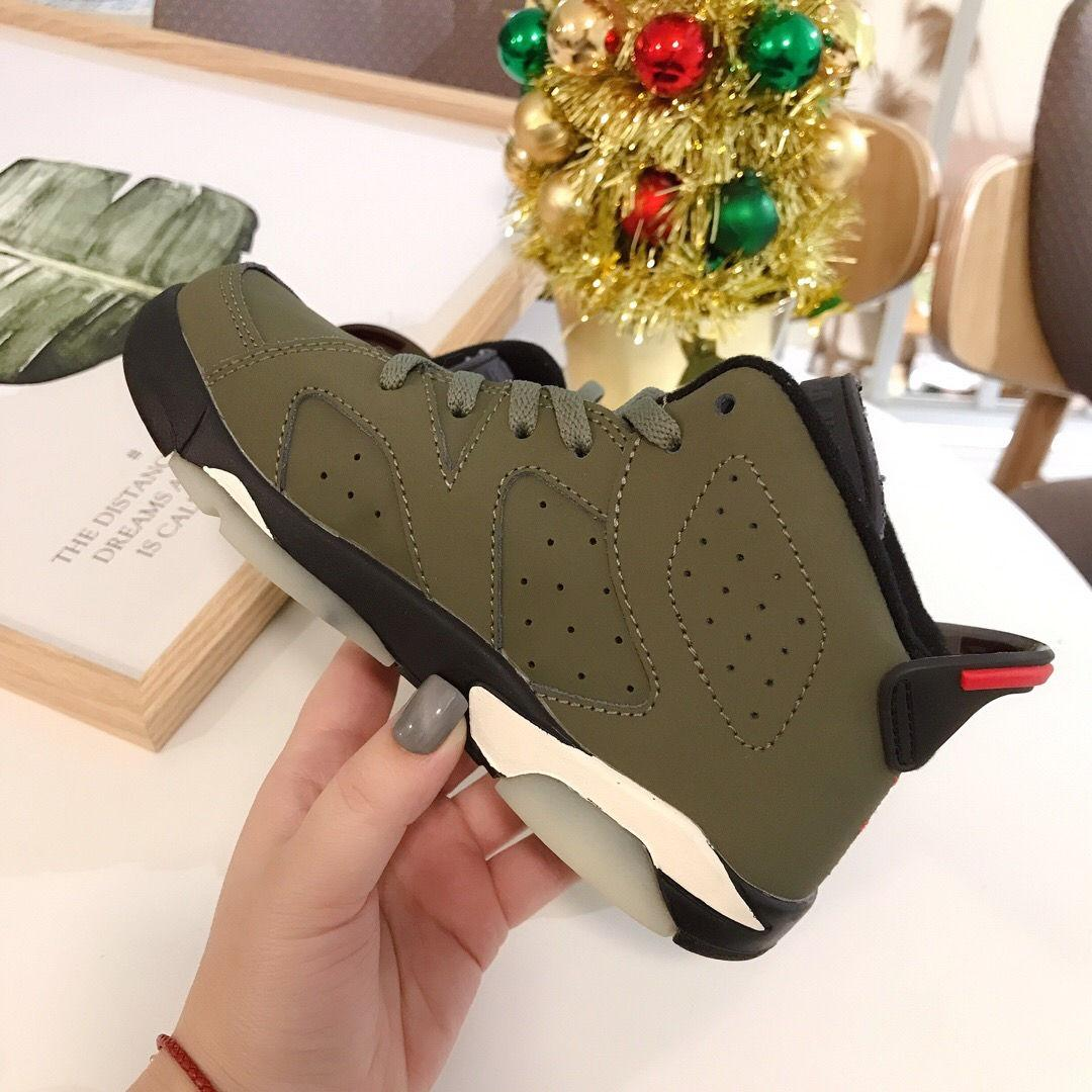 Travis Scott Orta Zeytin Boys Kız ayakkabı Koyu Mocha Spor 6S Çocuk Sneaker yürümeye başlayan InfaRed 6s VI Çocuk Basket Ayakkabısı Bebek