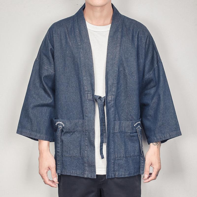 lwVUo 2020 chaqueta de punto kimono kimonoSummer nueve nuevo cuarta capa grande de la manga kimono bata de bolsillo de los hombres de la capa del dril de algodón de mezclilla estilo chino