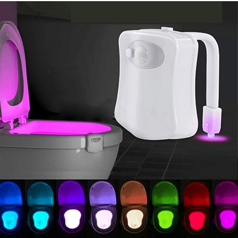 45V Smart Night Light Sensor Toilet Lamp 8 Colors Backlight Activated Toilet Bowl LED Luminaria Lamp Nightlight