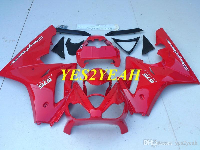 Triumph Daytona를위한 인젝션 바디 키트 675 05 06 07 08 차체 DAYTONA675 2005 2008 ABS 핫 레드 페어링 킷 + 선물 용품 DA04