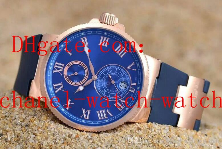 Gratis Verzending 4 Kleur Marine Chrono Rose Gold Mens Horloge 266-67-3 / 43 Mechanische Automatische Mens Polshorloge Rubberen band Transparant Back
