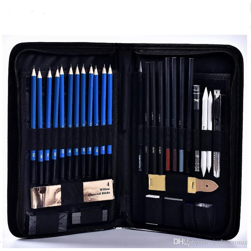 48 قطع طقم رسم رسم قلم رصاص المهنية رسم الجرافيت الفحم أقلام العصي ممحاة القرطاسية رسم اللوازم