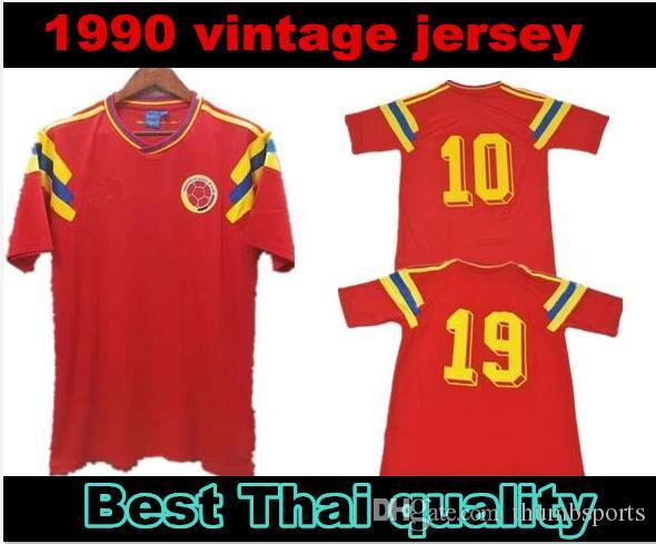 # 10 # فالديراما 9 غيريرو كولومبيا 1990 ريترو لكرة القدم جيرسي أحمر الكلاسيكية العتيقة احتفال مجموعة خمر قميص كرة القدم Camiseta