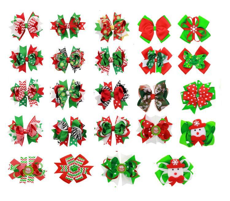 6 인치 크리스마스 소녀 산타 리본 스노우 맨 휴가 일치하는 맨 휴가 아동 Xmas 헤어 착용 24 디자인